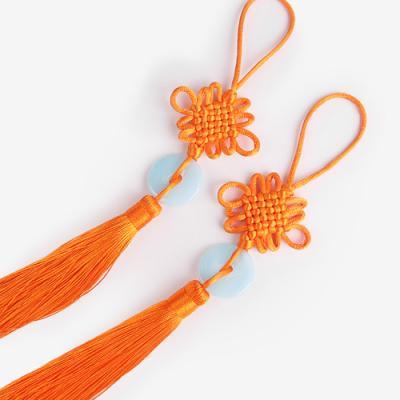 옥 장식 주황 전통 매듭 노리개 (2개)