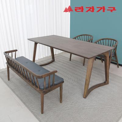 헤들 고무나무 원목 식탁세트 4인 A타입