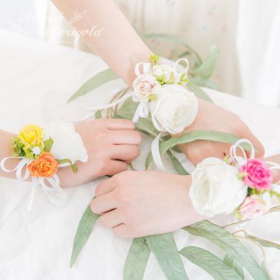 [마쉬매리골드]미니 장미 웨딩 꽃팔찌 [3컬러]