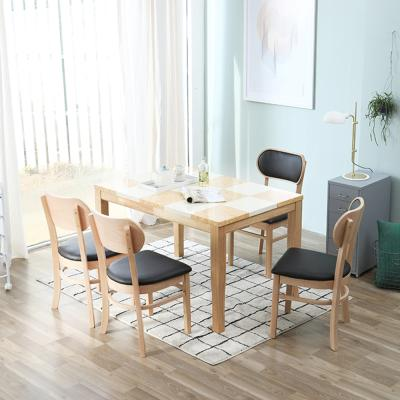 [리비니아]마니치_ 버터 4인 대리석식탁세트(의자형)