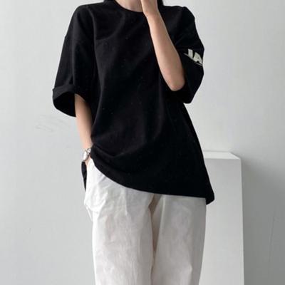 [애슬릿]국내 면 100 레터링 루즈 오버핏 반팔 티셔츠