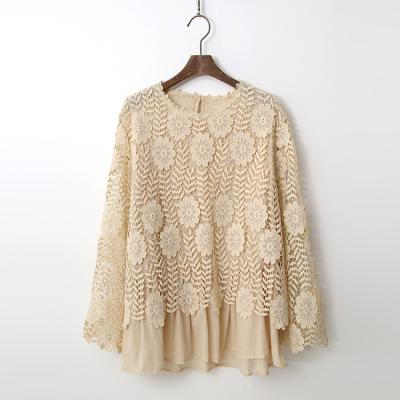 Cotton Lace Flare Blouse