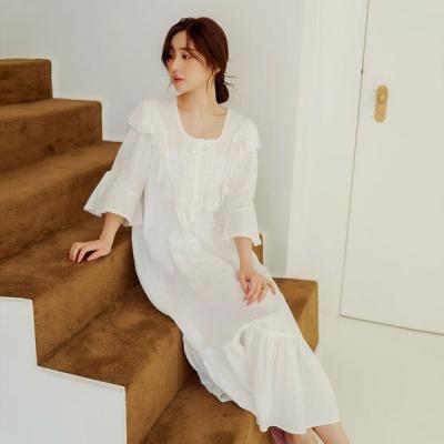 [쿠비카]이중거즈면 롱 원피스 여성잠옷 W676