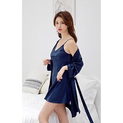 실키나잇 여성 슬립 잠옷세트 (네이비) (XXL)