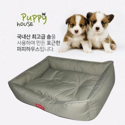 퍼피하우스 강아지 방석 침대 쿠션 매트 하우스 카키