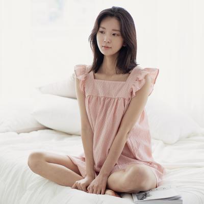 힐링잠옷 러블리 프릴소매 잔체크 원피스_3color