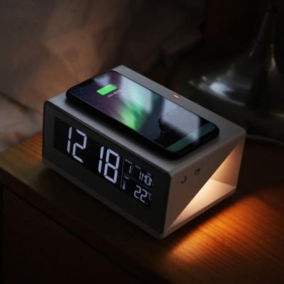 [무아스] 무선충전 무드등 LED 탁상시계 MC-W2