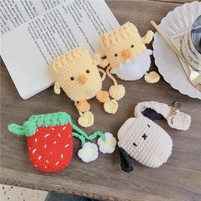 에어팟 1/2/프로 딸기 동물 뜨개파우치 실리콘 케이스