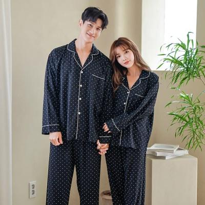 [쿠비카]도트 프린팅 포켓 투피스 커플잠옷 WM267