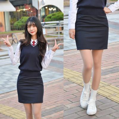 [허리조절] 스판 네이비 교복치마 교복 스커트