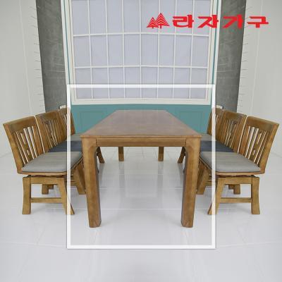두라스 고무나무 원목 식탁 테이블 6인