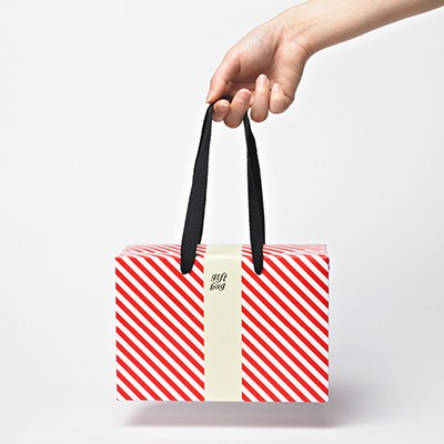 PLUSBOX GIFT BAG (Red stripes-Small) (쇼핑백/포장박스)