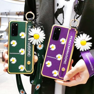 갤럭시노트10 + 예쁜 국화꽃 스트랩 핸드폰줄 케이스