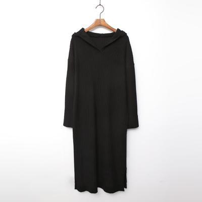 Wool Hood Long Knit Dress