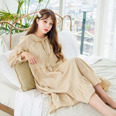 [쿠비카]이중지면 소매훌 원피스 여성잠옷 W515