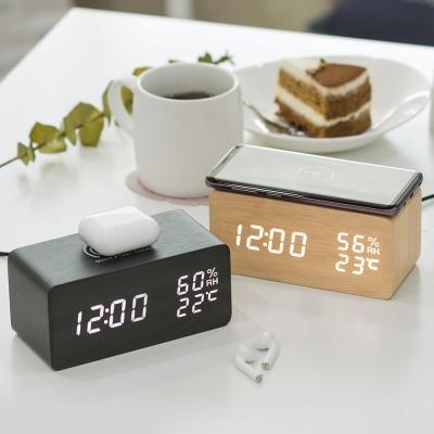 플라이토 고속 무선충전 우드 LED 탁상시계+전용아