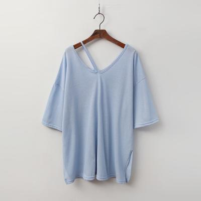 Linen Cotton Drop V-Neck Tee