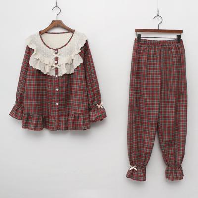 Frill Check Pajama Set