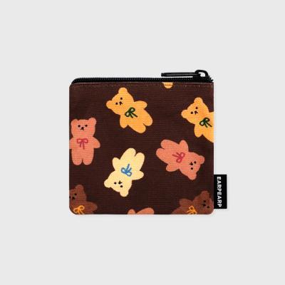 Dot ribbon bear-brown(미니 파우치)