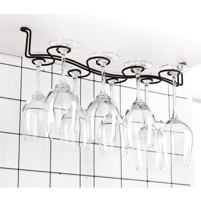 천장고정형 8구 물결 와인잔걸이(브라운)