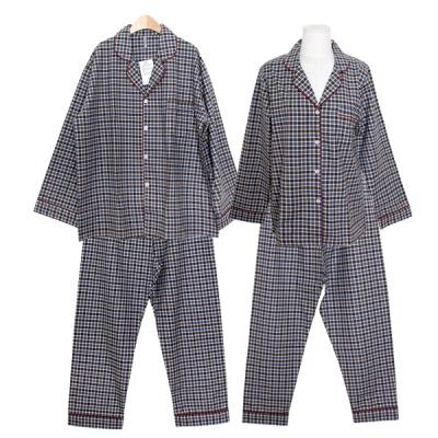 [쿠비카]배색 체크 피치 기모 투피스 커플잠옷 WM304