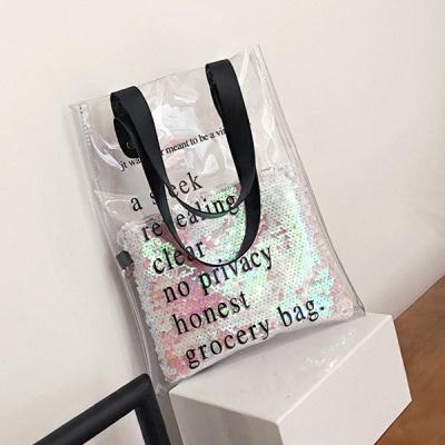 로얄티 스팽글 PVC투명 숄더백