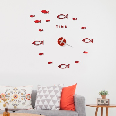 DIY 물고기 붙이는 벽시계(레드)