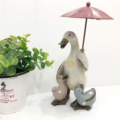 핑크 우산 프로방스 가족오리