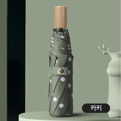 원목 손잡이 3단 고급 UV 차단 이쁜 수동 우산 카키