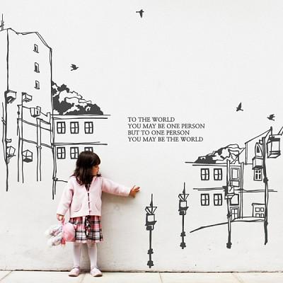 유럽피안 (반제품C타입)  (거리) 그래픽스티커 풍경 월데코 포인트