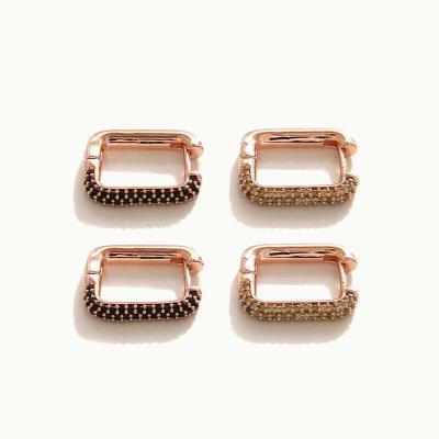 제이로렌 M03444 사각 큐빅 원터치 귀걸이
