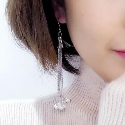 925 실버 진주 담수 귀걸이 이어링 더블 팬던트 태슬