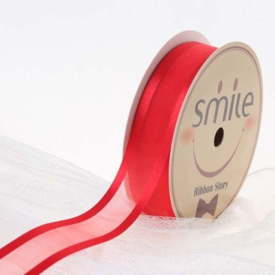 양단오간디리본 7mm (9미터 컷팅롤) 빨강