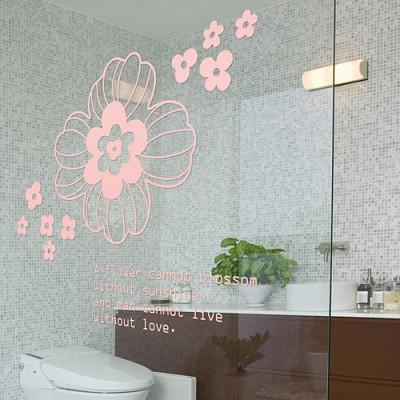 붉은꽃 (완제품C타입)- 플라워 데코 키친 전통 그래픽스티커 화장실 풍수인테리어 월데코 포인트