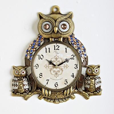 (kspz135)저소음 형제부엉이 시계 골드