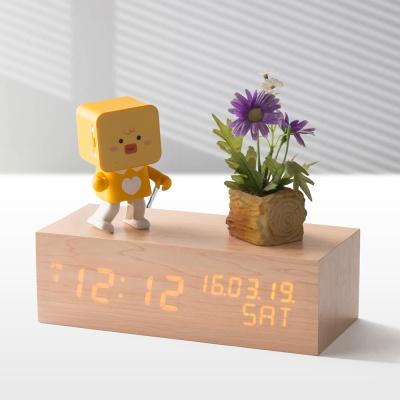플라이토 우드 솔리드 LED 탁상시계 JS-i10