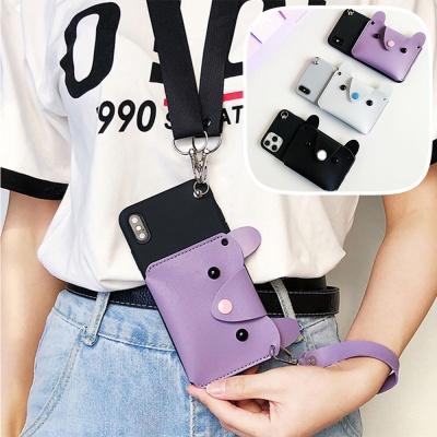 갤럭시s20 ultra s10+ 캐릭터 지갑형 핸드폰줄 케이스