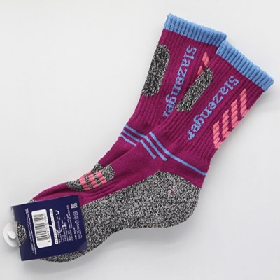 여성 발이 편한 스포츠 등산 양말 자주색 1켤레
