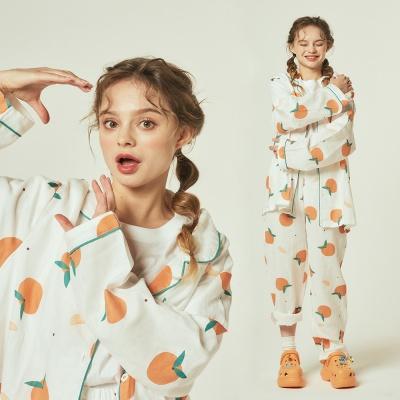 [오끼뜨] 코튼 30수 오렌지 그린 파이핑 파자마세트