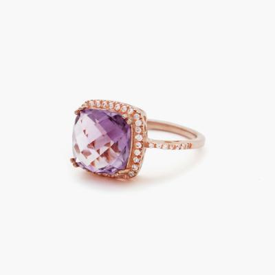 바이데이지 BDR0116 천연 자수정 원석 로즈골드 반지