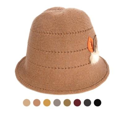 [디꾸보]나뭇잎 털방울 울 벙거지 모자 AC502