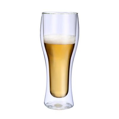[로하티]이중유리 맥주잔 400ml/ 손잡이 보냉 유리컵