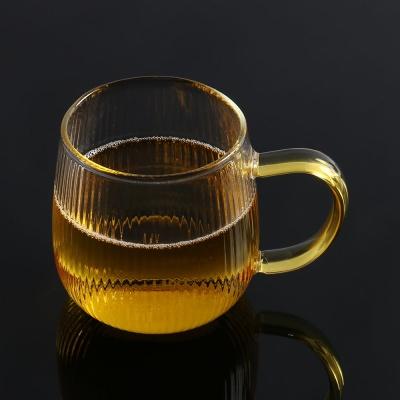 [로하티]링클라인 내열유리컵 홈카페 손잡이 주스컵