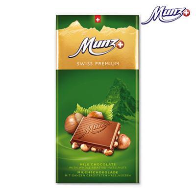 문츠 초콜릿 스위스 프리미엄 밀크 헤이즐넛바 100g