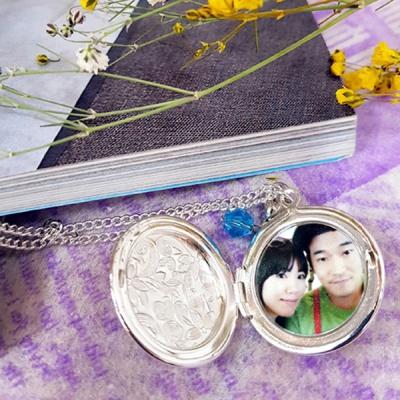 사진목걸이 원형무늬소