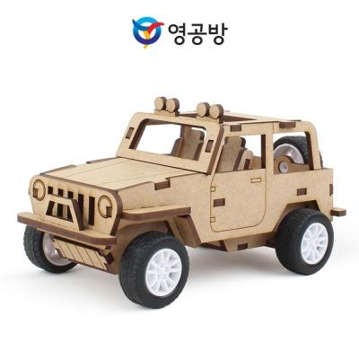 영공방 풀백 오프로드 카 나무 장난감 조립 모형