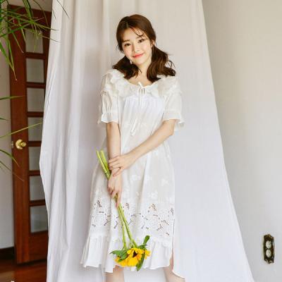 [쿠비카]플라워 자수 망사레이스 원피스 여성잠옷W331