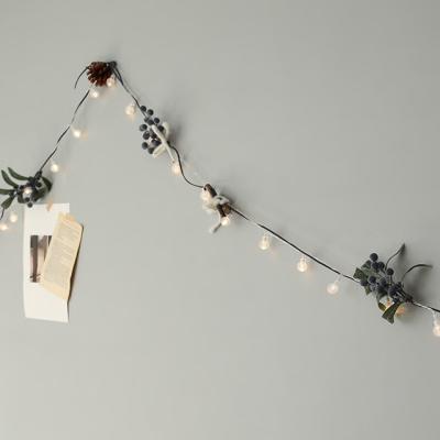 솔방울 블루베리 털실가랜드 + LED전구set [3size]