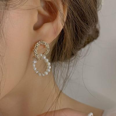 유알 투링 꼬임 여성 골드 진주 큐빅 925 귀걸이