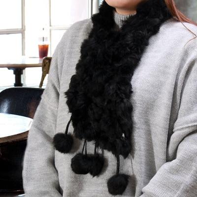 토끼털 방울 목도리(블랙) (여성용)